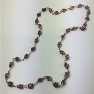 Amethyst gold tone wrapped stone necklace vintage